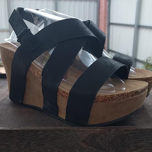 a91308bc77ff4 Pierre Dumas Shoes | Wedge Platform Strappy Black Sandals | Poshmark